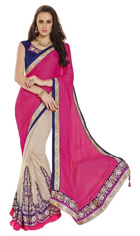 Stylish Fuchsia Pink And Beige Satin And Net Lehenga Saree