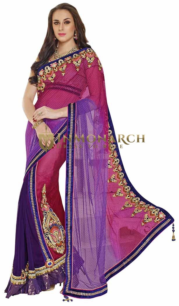 Magnetic Dark Pink And Purple Lehenga Style Saree