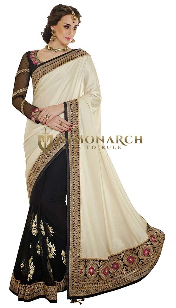 Blissful Cream And Black Satin And Net Saree