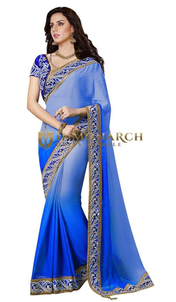 Trendy Look Shaded Blue Faux Chiffon Saree