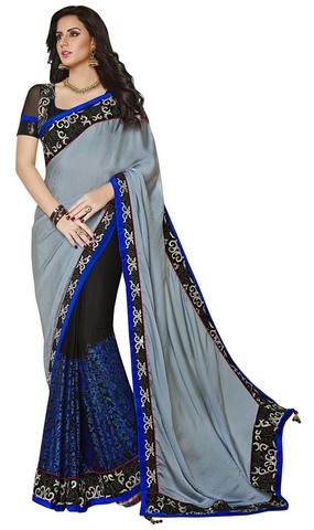 Impressive Grey And Black Crush Satin And Net Saree