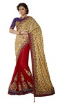 Spectacular Golden Beige And Red Art Silk And Net Saree