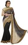 Elegant Black And Off White Net And Jacquard Saree