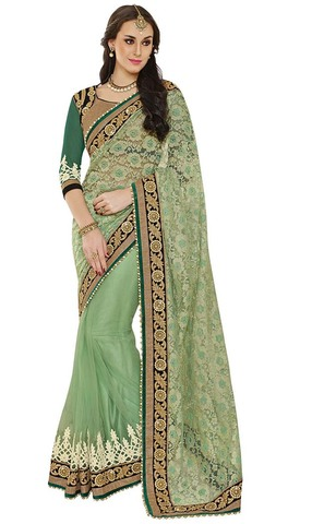 Victorious Look Light Green Net Jacquard Saree