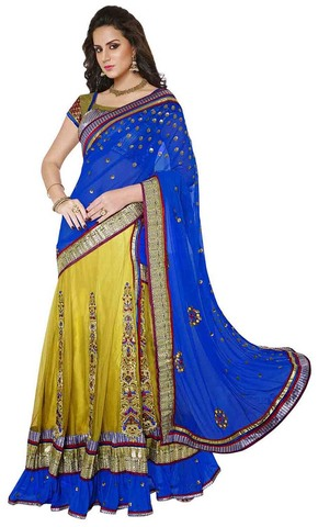 Royal Blue and Neon Green Lehenga Saree