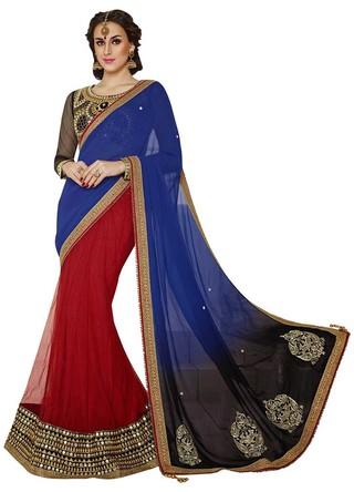 Perfect Look Blue And Red Half N Half Lehenga Saree