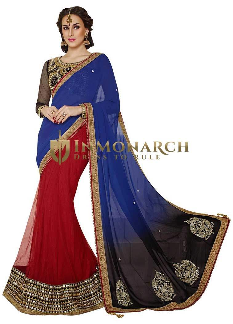 Perfect Look Blue And Red Half N Half Lehenga Saree