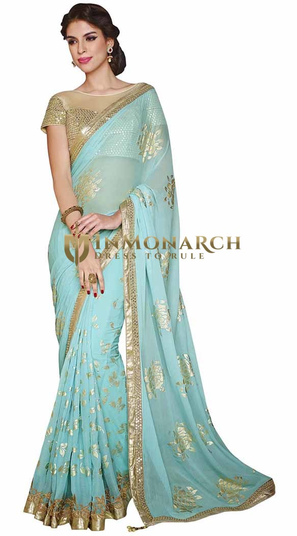 Attractive Cyan Faux Chiffon Saree