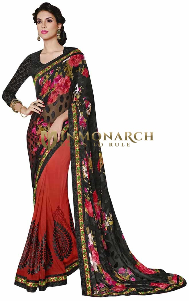 Amazing Black and Red Faux Georgette Brasso Saree