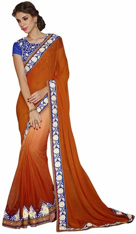 Shaded Copper Faux Chiffon And Net Saree