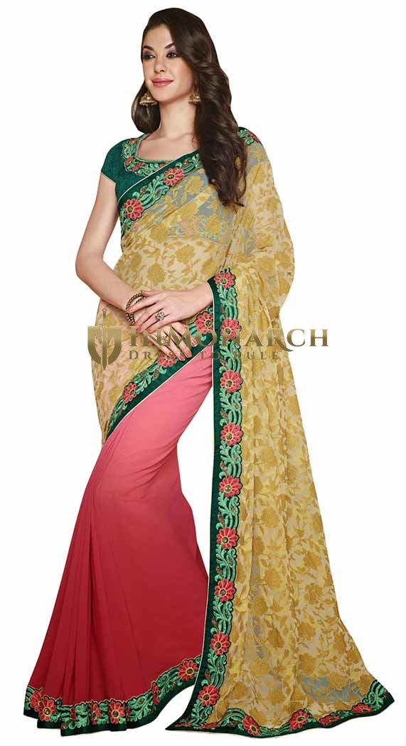 Trendy Beige And Red Net Brasso And Georgette Saree