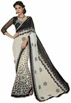 Classic Black And White Net And Faux Chiffon Saree