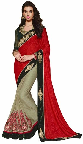 Traditional Red And Green Jacquard And Faux Chiffon Saree
