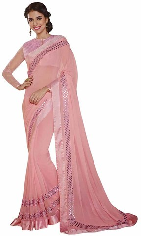 Grandiose Pink Faux Chiffon Saree