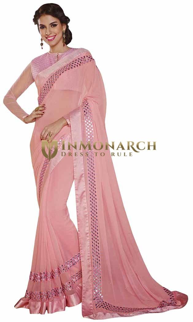 Grandiose Pink Faux Chiffon Saree