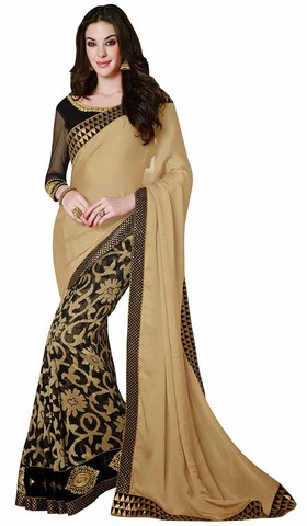 Marvelous Beige And Black Faux Chiffon And Net Brasso Saree
