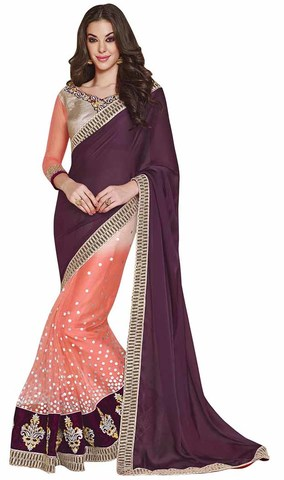 Dark Purple And Peach Faux Chiffon And Net Saree