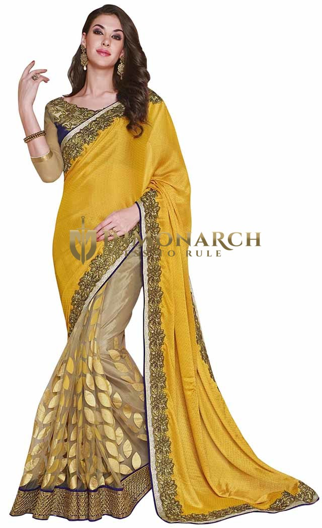 Dazzling Yellow And Beige Art Silk Jacquard And Net Saree