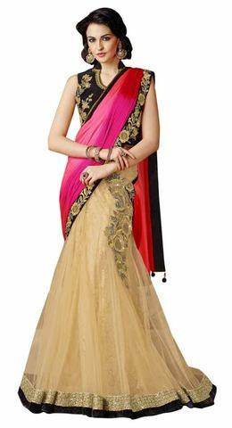 Classic Beige And Pink Net Lehenga Saree