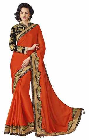 Attractive Red Faux Chiffon Saree