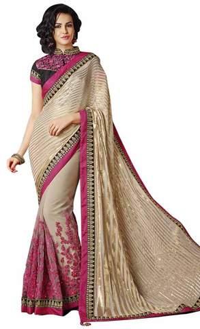 Fashionable Beige Chiffon And Net Saree