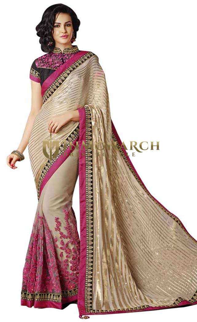 Fashionable Beige Chiffon And Net Saree