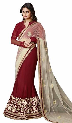 Marvelous Cream And Maroon Lehenga Saree