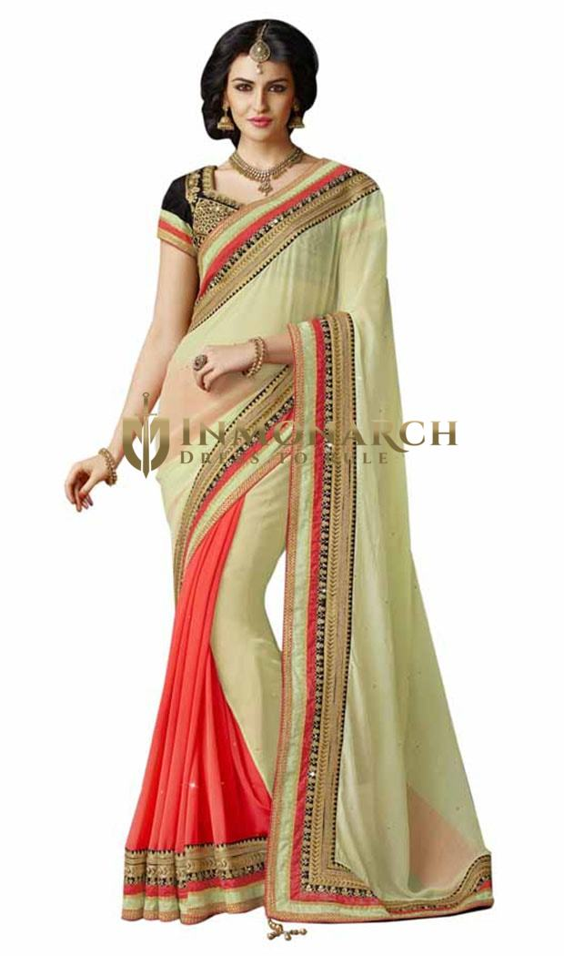 Light Green And Coral Chiffon Saree