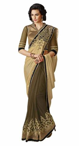 Superb Beige And Olive Drab Chiffon And Net Saree