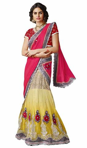 Fuschia Pink And Yellow Lehenga Saree