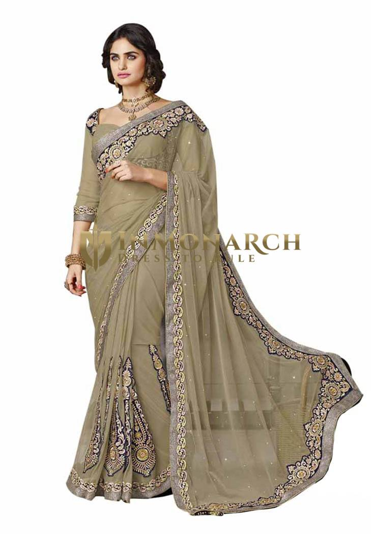 Fashionable Dark Beige Net Saree