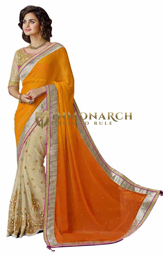Orange And Beige Chiffon And Net Saree