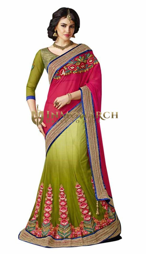 Shaded Green And Red Lehenga Saree