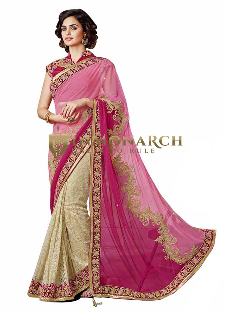 Shaded Pink And Beige Chiffon And Net Saree