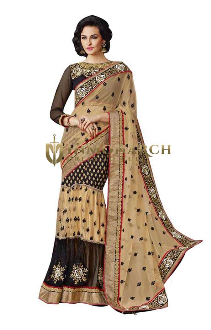 Exclusive Beige And Black Net Lehenga Saree