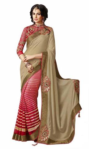 Amazing Beige And Shaded Pink Satin And Net Saree