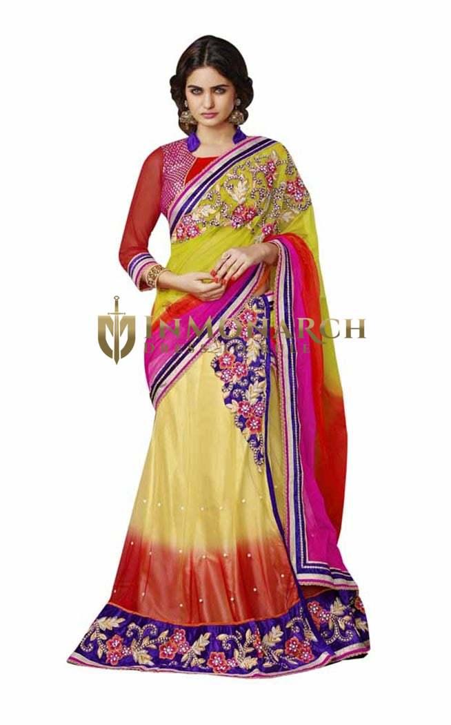 Yellow Net Lehenga Style Saree