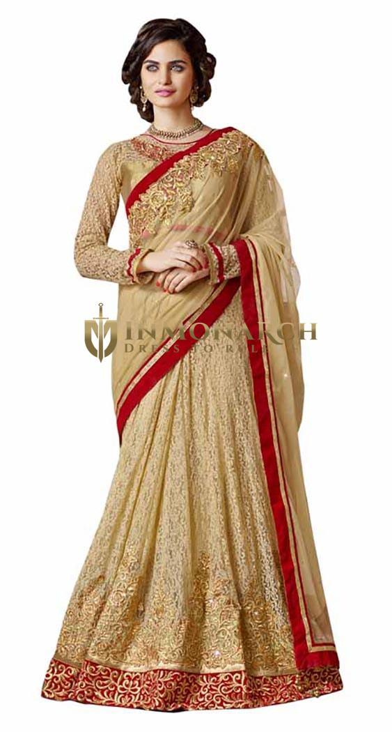 Golden Beige Jacquard Net Lehenga Saree