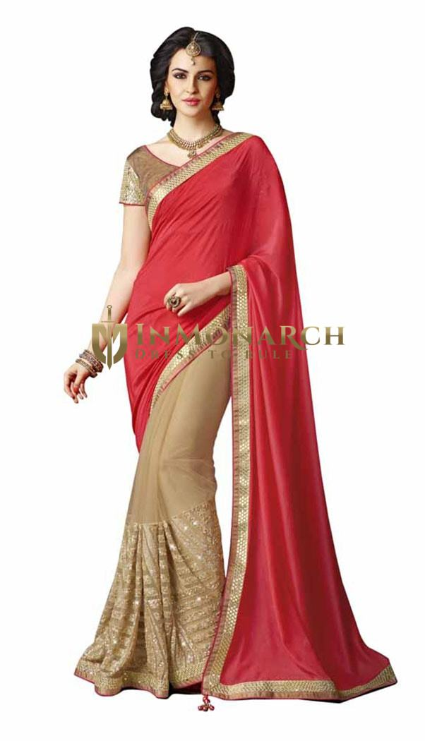 Beautiful Red And Beige Chiffon And Net Saree