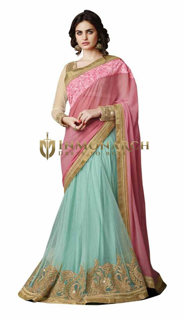 Trendy Pink And Cyan Lehenga Pattern Saree