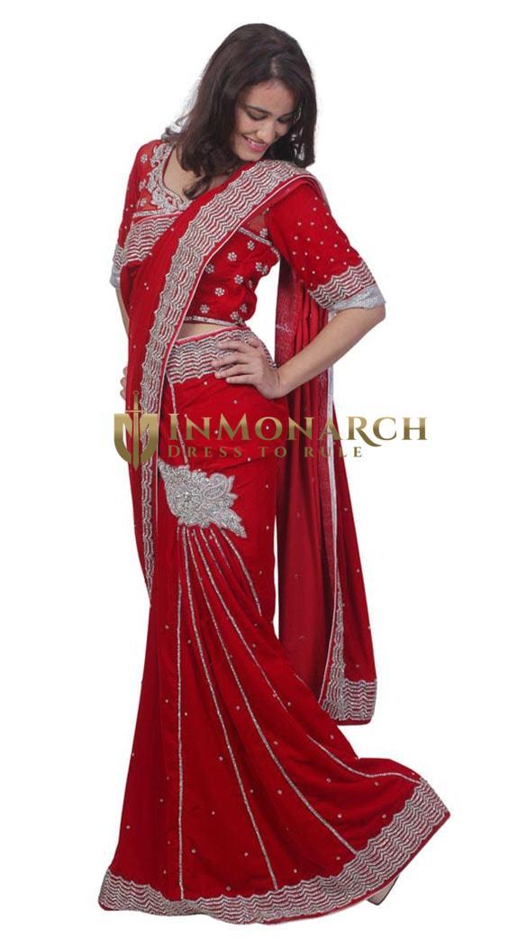 Beautiful Dark Red Velvet Lehenga Saree