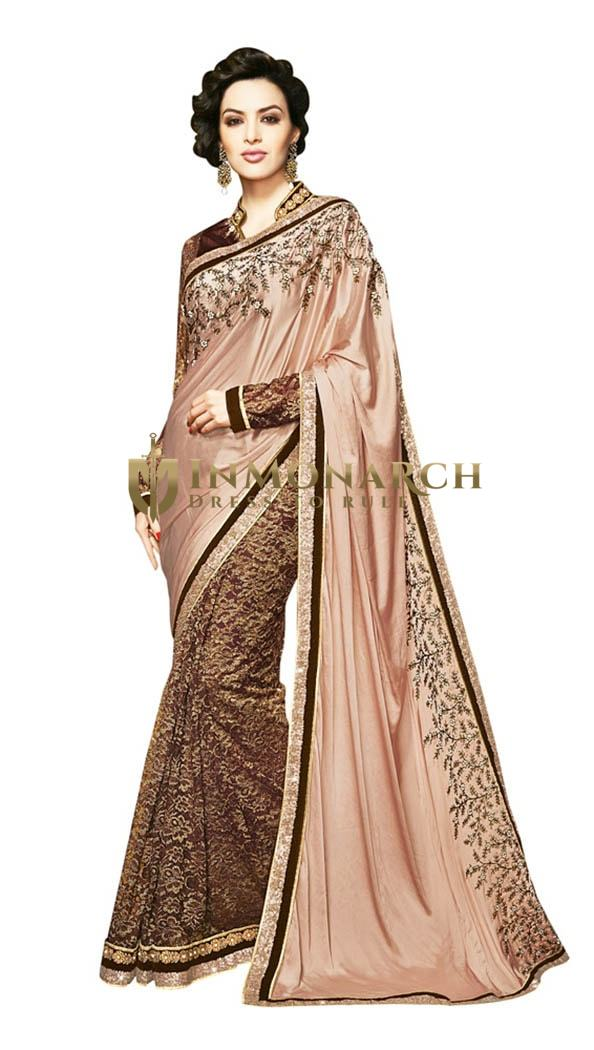 Pretty Looking Peach and brown Designer Saree
