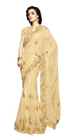 Alluring Beige Net Chiffon Designer Saree