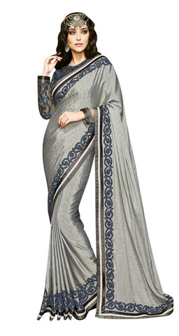 Exclusive Designer Grey Art Silk Saree