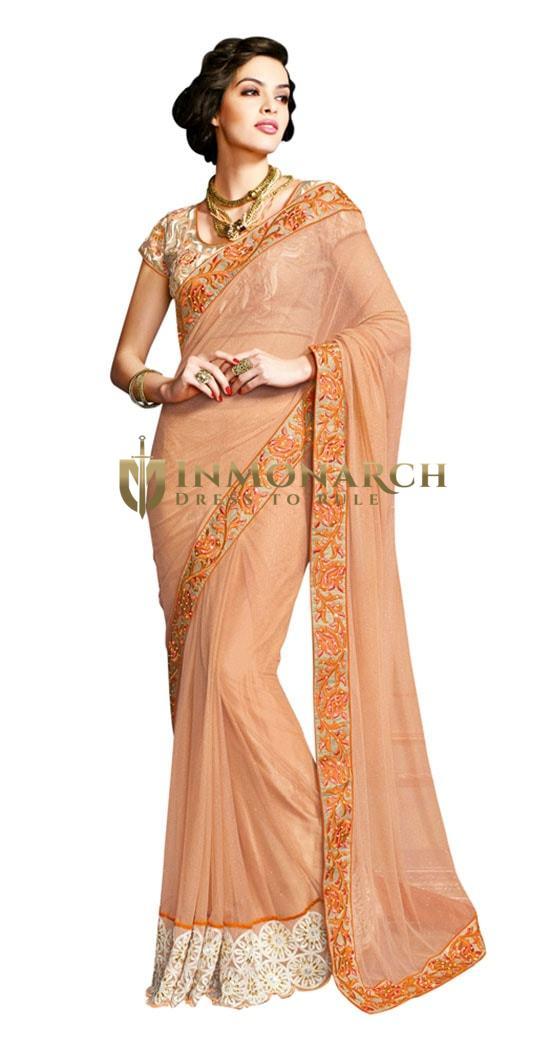 Peach Floral worked Saree