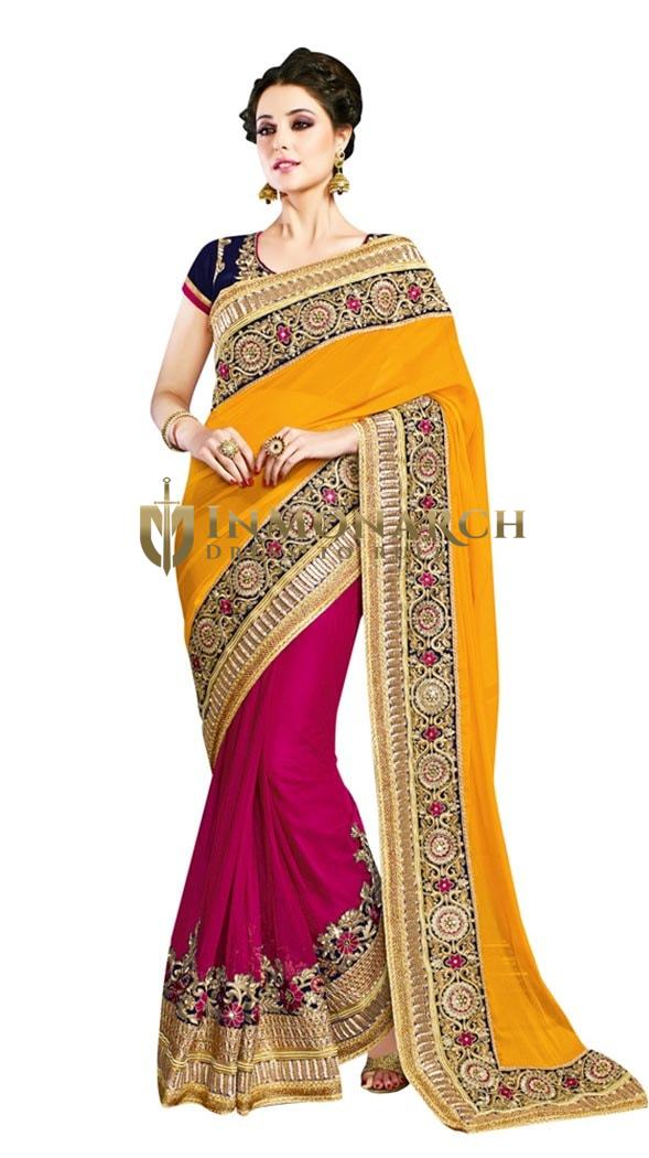 Magnificent Yellow and Purple designer Saree