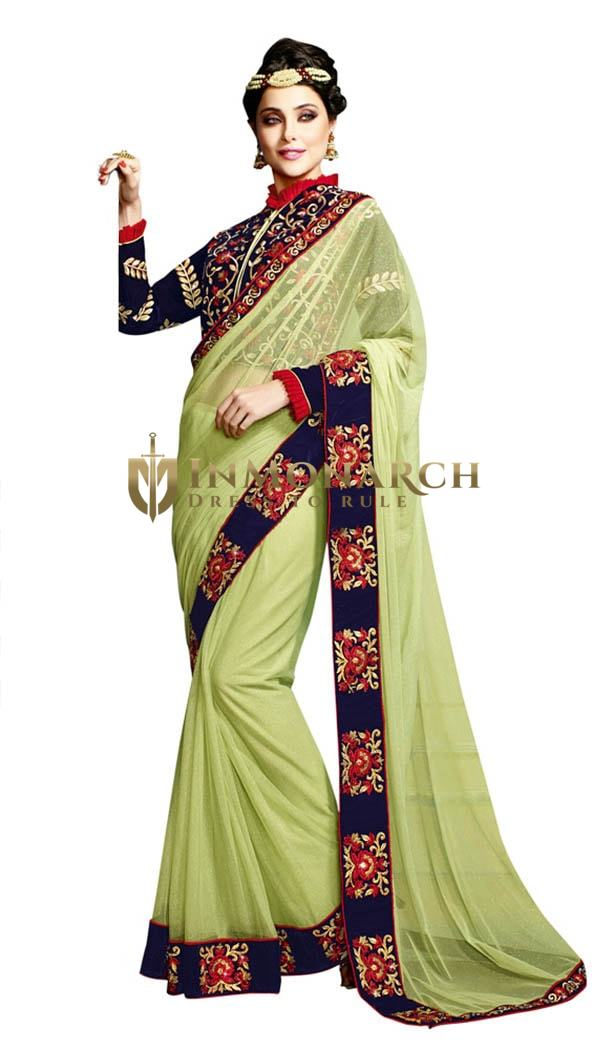 Beautiful Green Net Designer sari