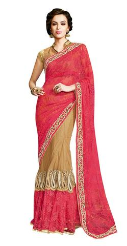 Golden red Net Jequard Designer saree