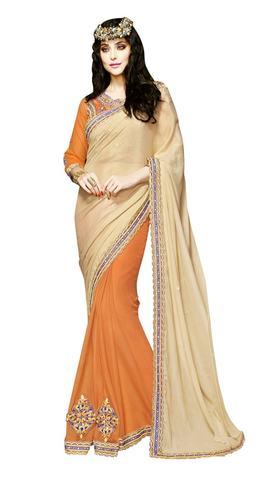 Marvelous Beige and Orange Designer saree