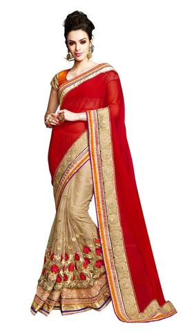 Party Wear Red and Beige Designer saree